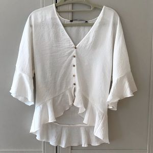 White silky blouse 3/4 sleeve